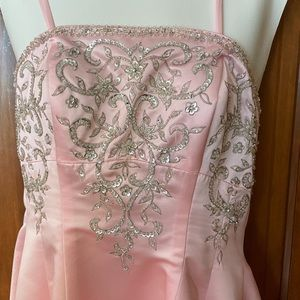 Light Pink Sparkle Rhinestone Prom Dress